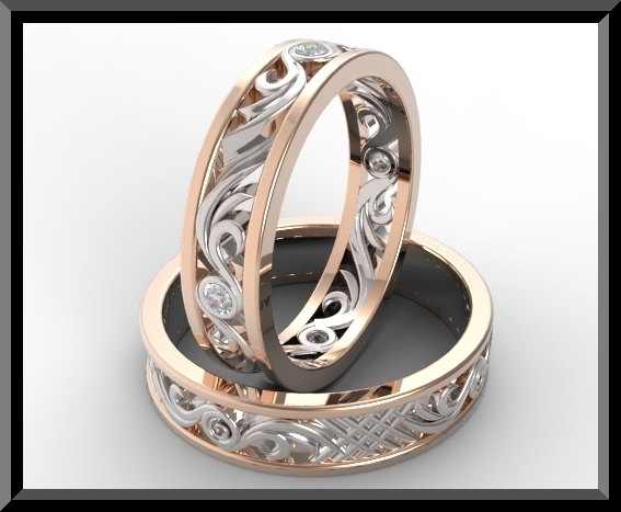 Diamond Matching Wedding Band Set Vidar Jewelry Unique