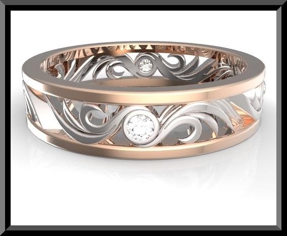 Two Tone Gold And Diamond Wedding Band Custom Rings