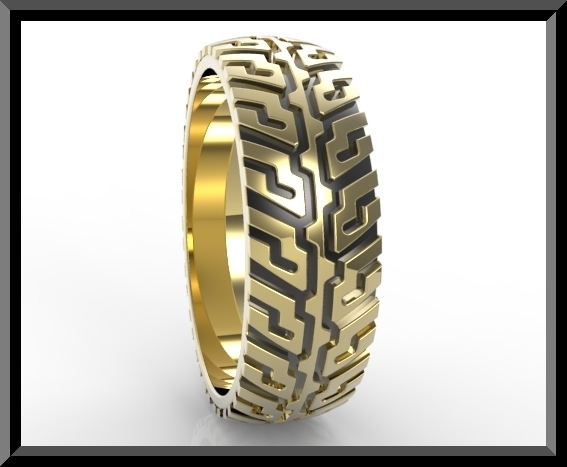 Tire Tread Wedding Ring Vidar Jewelry Unique Custom