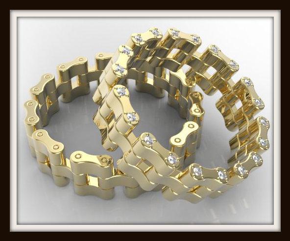 Matching Bike Chain Diamond Wedding Band Vidar Jewelry