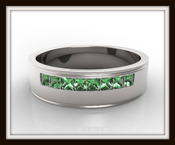 Mens Princess Cut Green Emerald Wedding Band Vidar