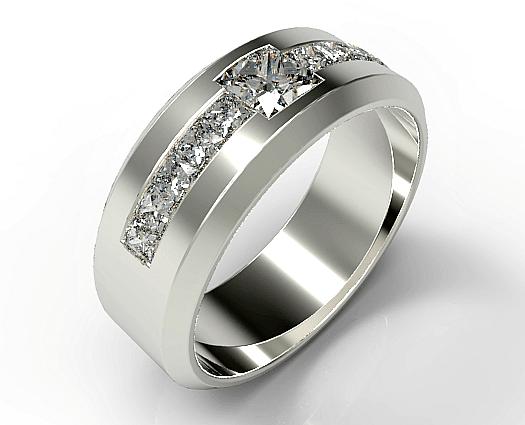Mens Princess Cut Diamond Wedding Band Vidar Jewelry