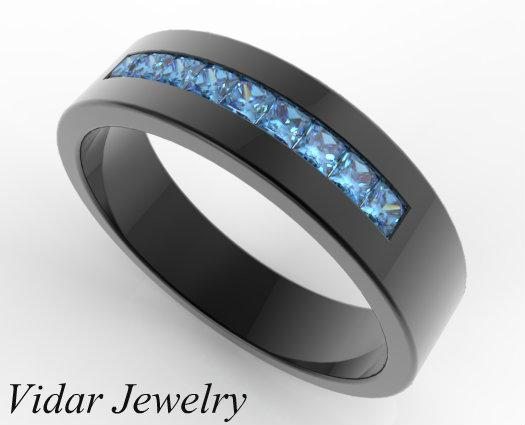 Mens Blue Diamond Wedding Band In Black Gold Vidar