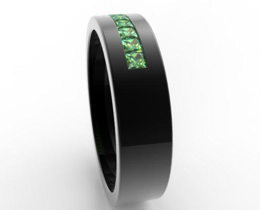 Black Gold Emerald Ring For Him Custom Bridal Jewelry