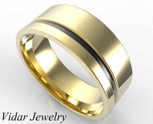 Custom Two Tone Gold Wedding Band For Mens Vidar
