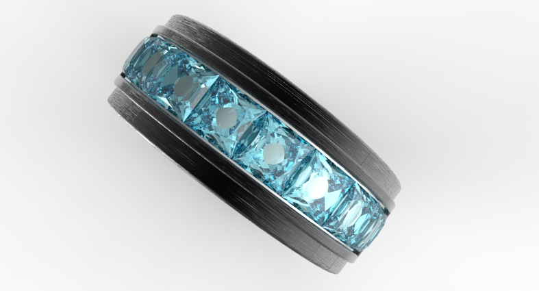 Mens Black Gold Amp Channel Set Aquamarine Wedding Band
