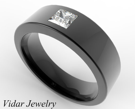 Black Gold Princess Cut Diamond Mens Wedding Band Vidar