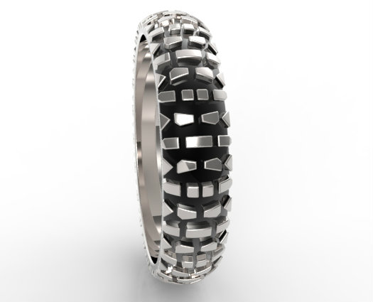 Motorcycle Tread Wedding Band Vidar Jewelry Unique