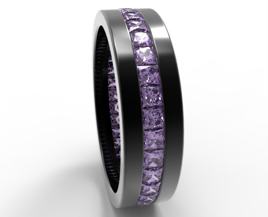 Princess Cut Amethyst Mens Wedding Band In Black Gold