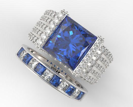 Princess Cut Blue Sapphire Wedding Ring Set In White Gold