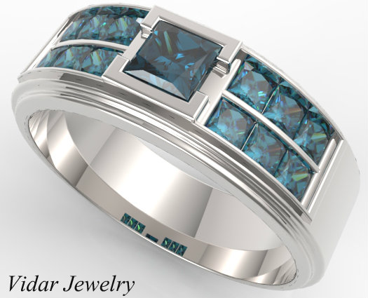 Mens White Gold Blue Diamonds Wedding Band Vidar