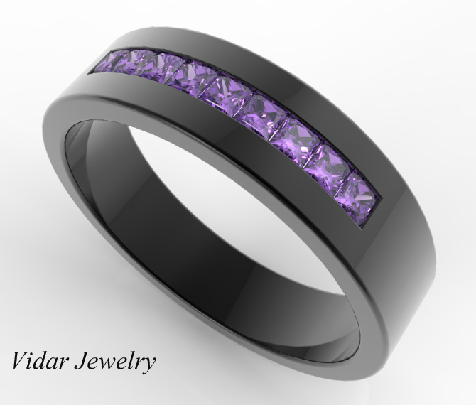 Striking Mens Pave Set Amethyst Wedding Band Custom