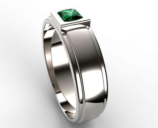 Unique Mens Princess Cut Green Emerald Wedding Ring
