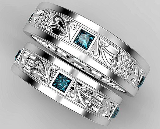 Princess Cut Blue Diamond Matching Wedding Ring Set