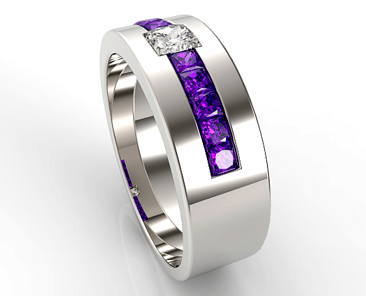Princess Cut Amethyst Wedding Band For Mens Vidar