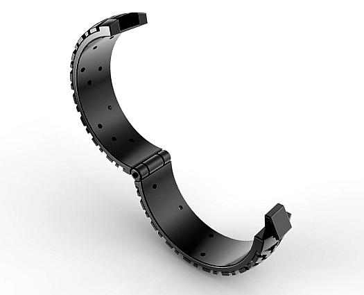 Hinged Wedding Band Black Gold Tire Tread Diamond Ring