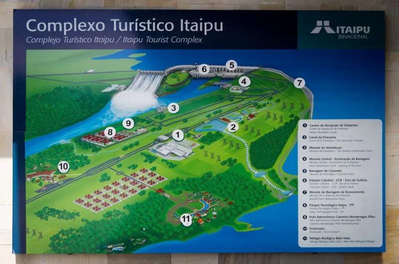 Mapa da Usina de Itaipu