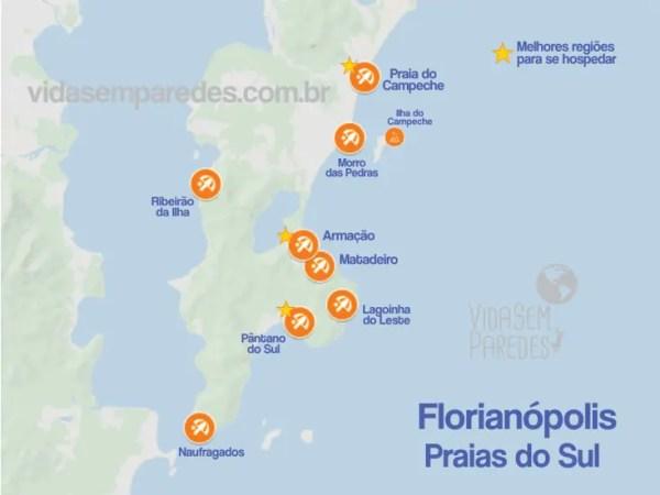 mapa praias floripa