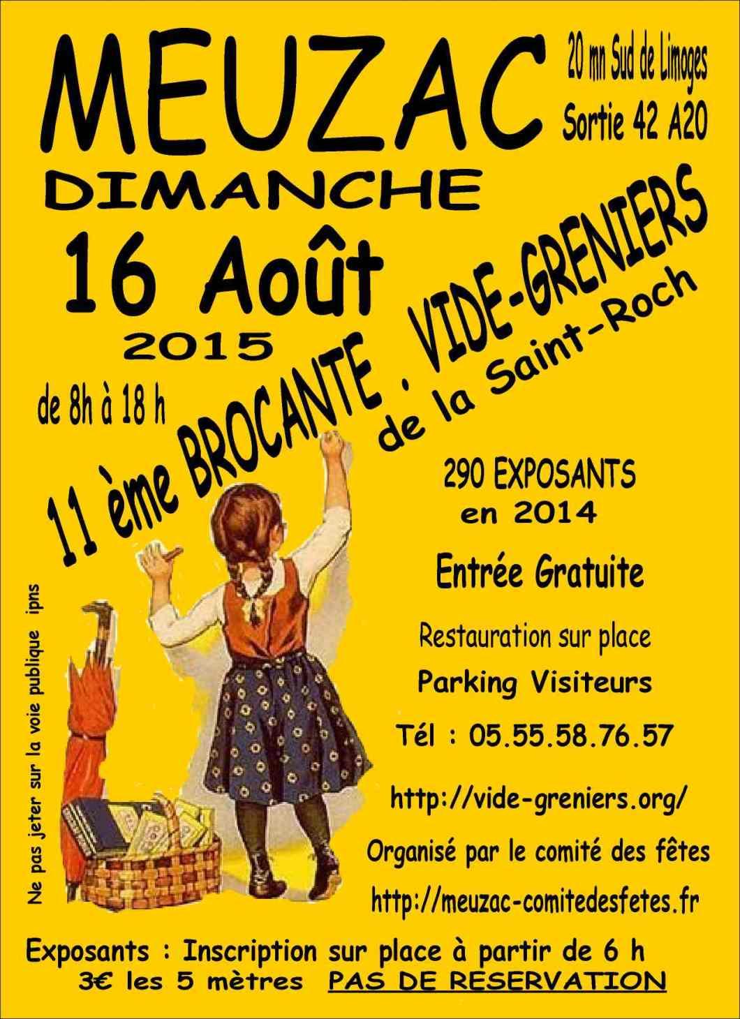 Affiche du vide grenier organisé le 16 août 2015 dans la commune de Meuzac, en Haute vienne (87).