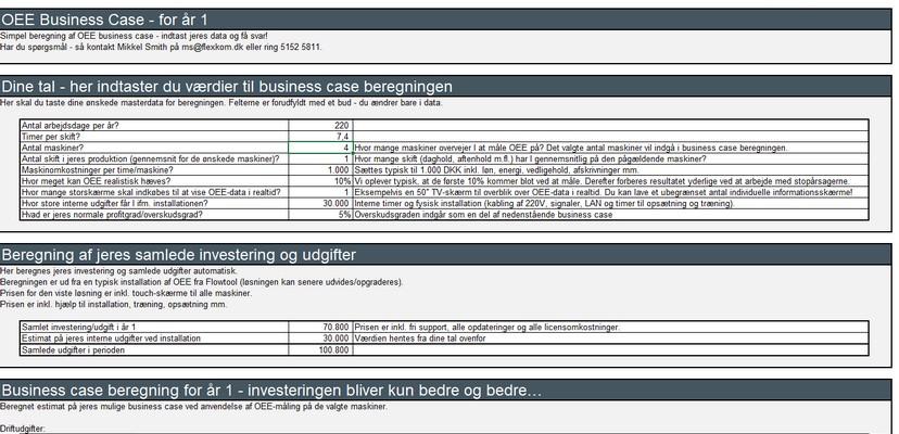 Dynamisk OEE Business Case – Simulering Af Jeres Business Case