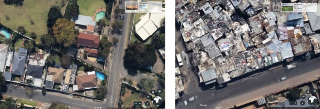 Parkhurst suburbs (left); Alexandra township (right)