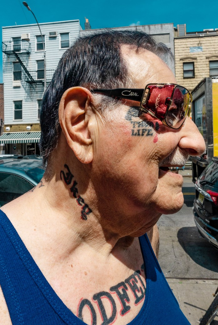 old man with tattoos and sunglasses in Robert LeBlanc A New America