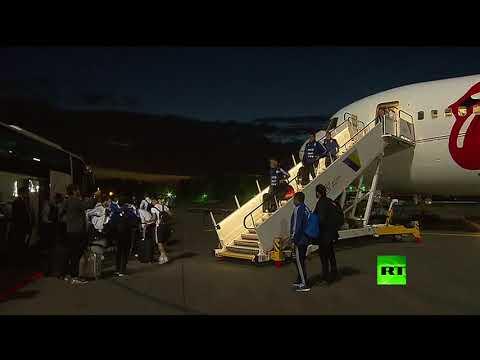 لحظة وصول ميسي مع منتخبه إلى روسيا للمشاركة في المونديال