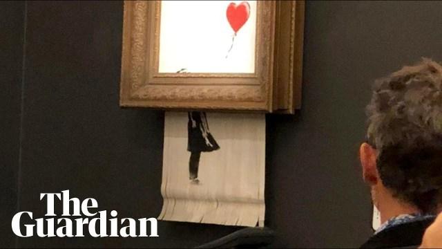لوحة للفنان بانكسي تمزق نفسها فور بيعها في مزاد