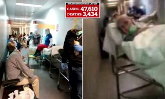 More Than 4,000 People Have Now Died in Spain From Coronavirus as New Footage From Inside One Struggling Hospital Shows Patients Lined Along Corridors
