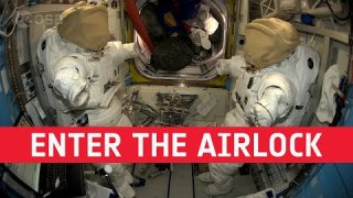 Enter the airlock with Thomas Pesquet (in French with English subtitles available)