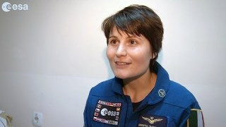 Interview with Samantha after landing