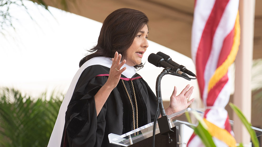 Maria Salinas '87 Addresses 2019 Graduate Commencement