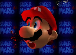 Super Mario 64 with scanline overlay