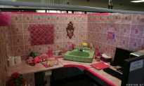 Shooter Redecorates His Cubicle