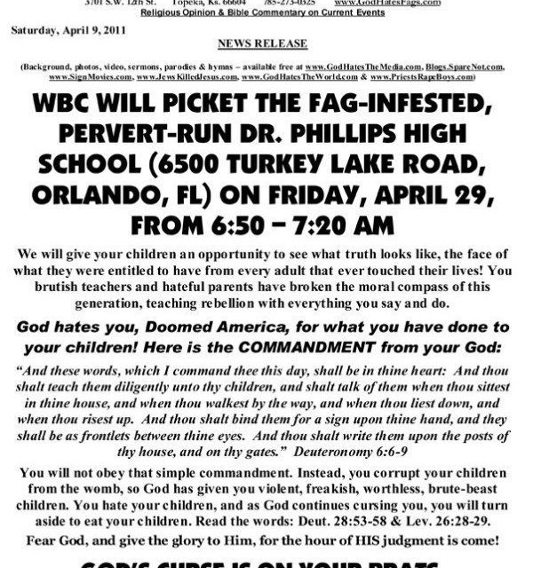 Is This Really How God Wants His Children To Treat Others? Westboro Church to Protest In Florida April 29, 2011