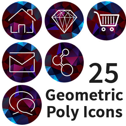 Poly Minimal Icon Set 25 website Icons