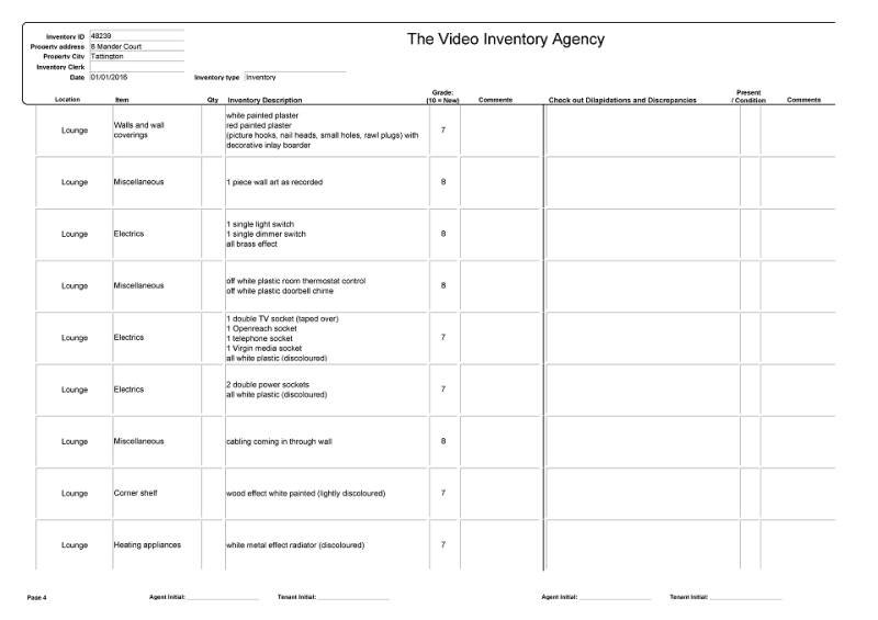 example inventory page