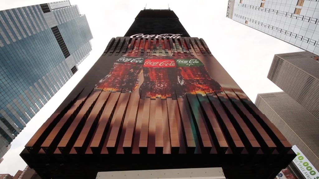 New 3D Coca Cola Sign in Times Square NY