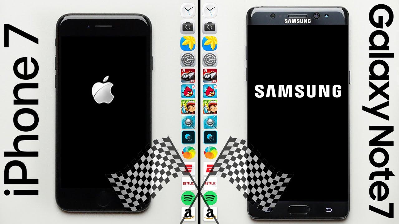 Apple iPhone 7 vs. Samsung Galaxy Note 7 Speed Comparison Test