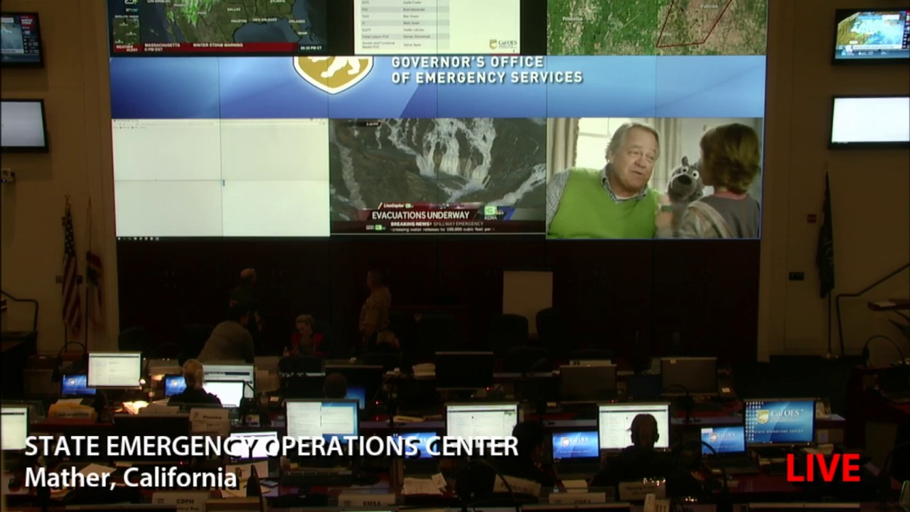 Evacuation Order Issued in California Oroville Dam – Emergency Spillway – State OES Operations Center – LIVE VIDEO