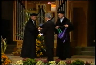 René Girard receiving his first Honorary Doctorate (1985)