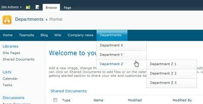 SharePoint global dropdown menu