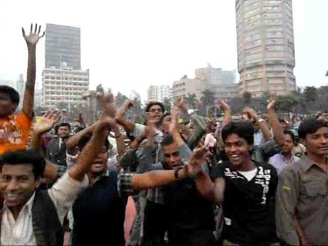The exhuberant BNP supporters chanted and danced throughout the
