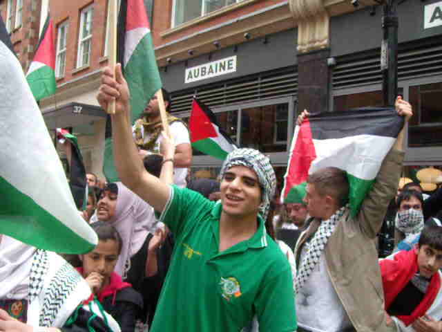 """Nakba Day"" protesters screaming outside Israeli Embassy, 15th May."