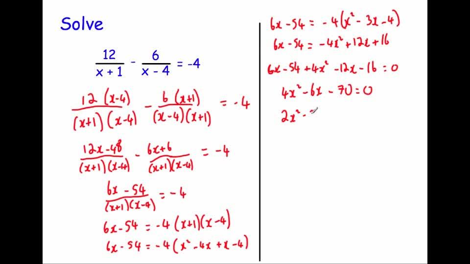 Equations involving algebraic fractions advanced – Solving Equations Involving Fractions Worksheet
