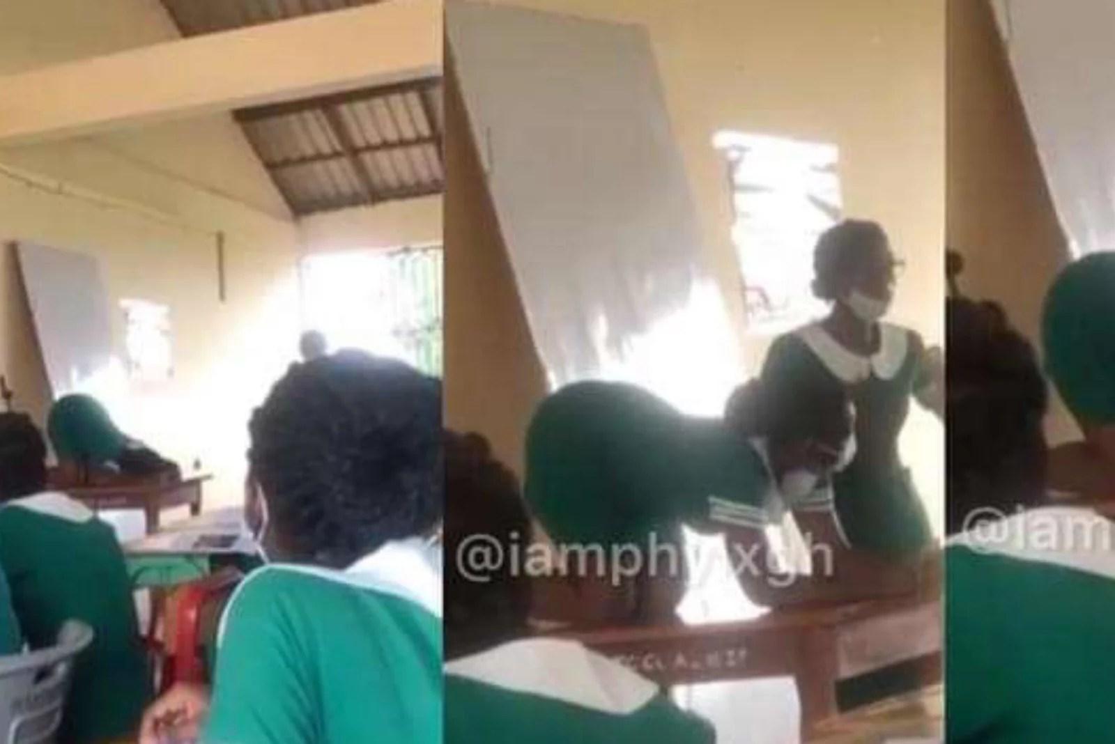 Insolite: Ghana :en plein cours, des étudiantes d'une école filmées en train d'apprendre des positions $3xu*elles