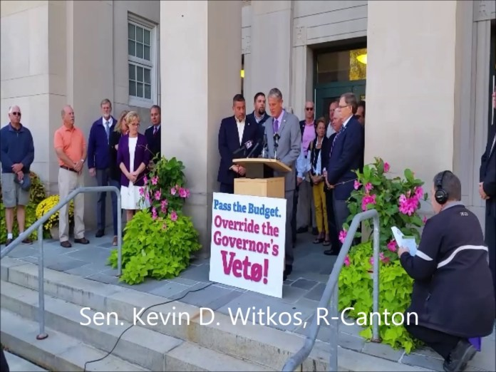 Republicans rallied at City Hall to drum up support for an override to Gov. Dannel P. Malloy's budget veto.