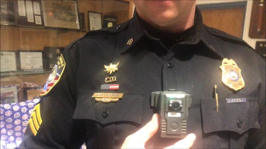 Sergeant Steve Jester, of the Cheshire Police Department explains the use of the newly implemented police body cameras in Cheshire.