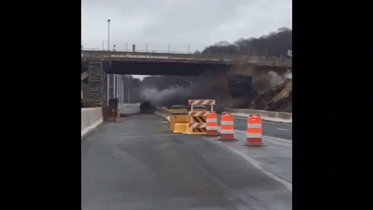 A overpowered blast of dynamite on the Interstate 84 reconstruction project in Waterbury last week caused about 280,000 pounds of rock and debris to topple onto the highway. I-84 was closed during the blast, as is protocol, and there were no injuries. The highway was closed for about 45 minutes while crews cleared the road.