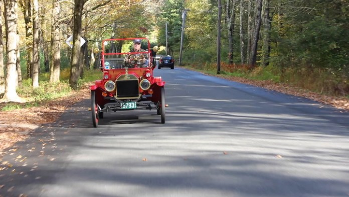Newell Atwood of New Hartford, Conn. collects Ford Model Ts. He owns four, which he enjoys riding in with his wife, Barbara. The Model T was built between 1908 and 1927 and more than 15 million were produced.